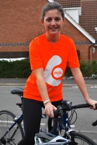 Charlotte on bike